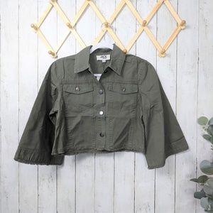Jack By BB Dakota Green Utility Crop Jacket